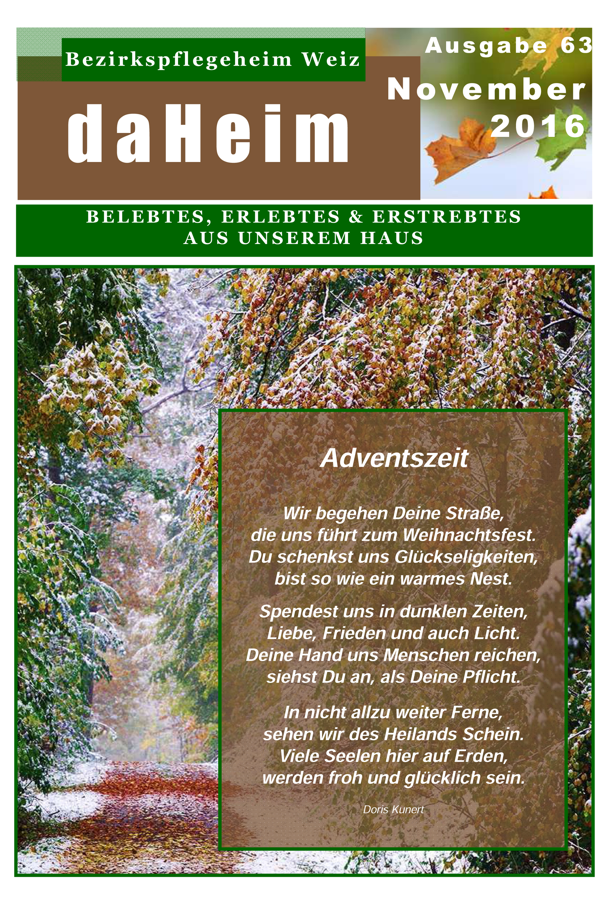 """Heimzeitung - """"daHeim"""" 2016-11"""