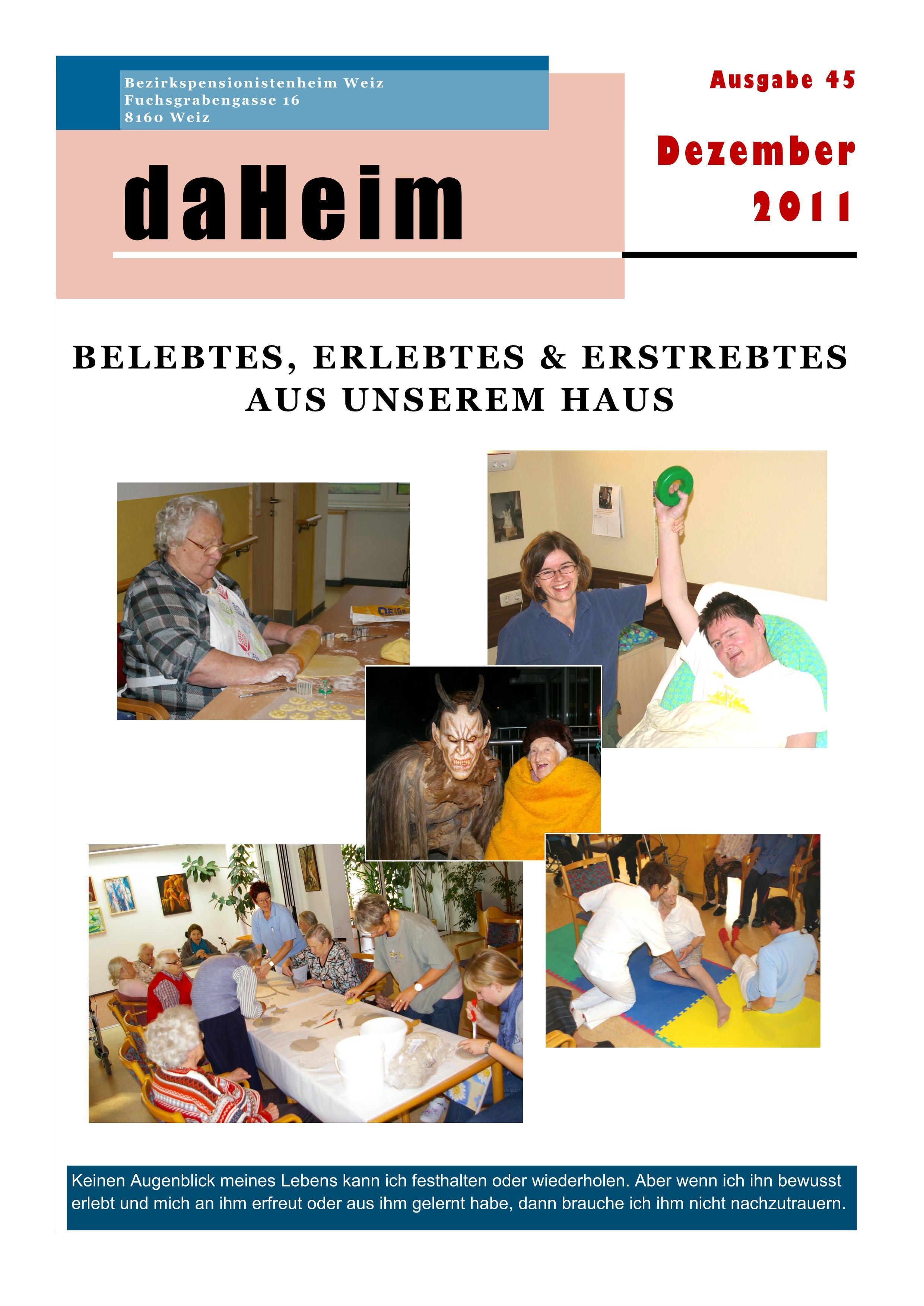"""Heimzeitung """"daHeim"""" 2011-12"""