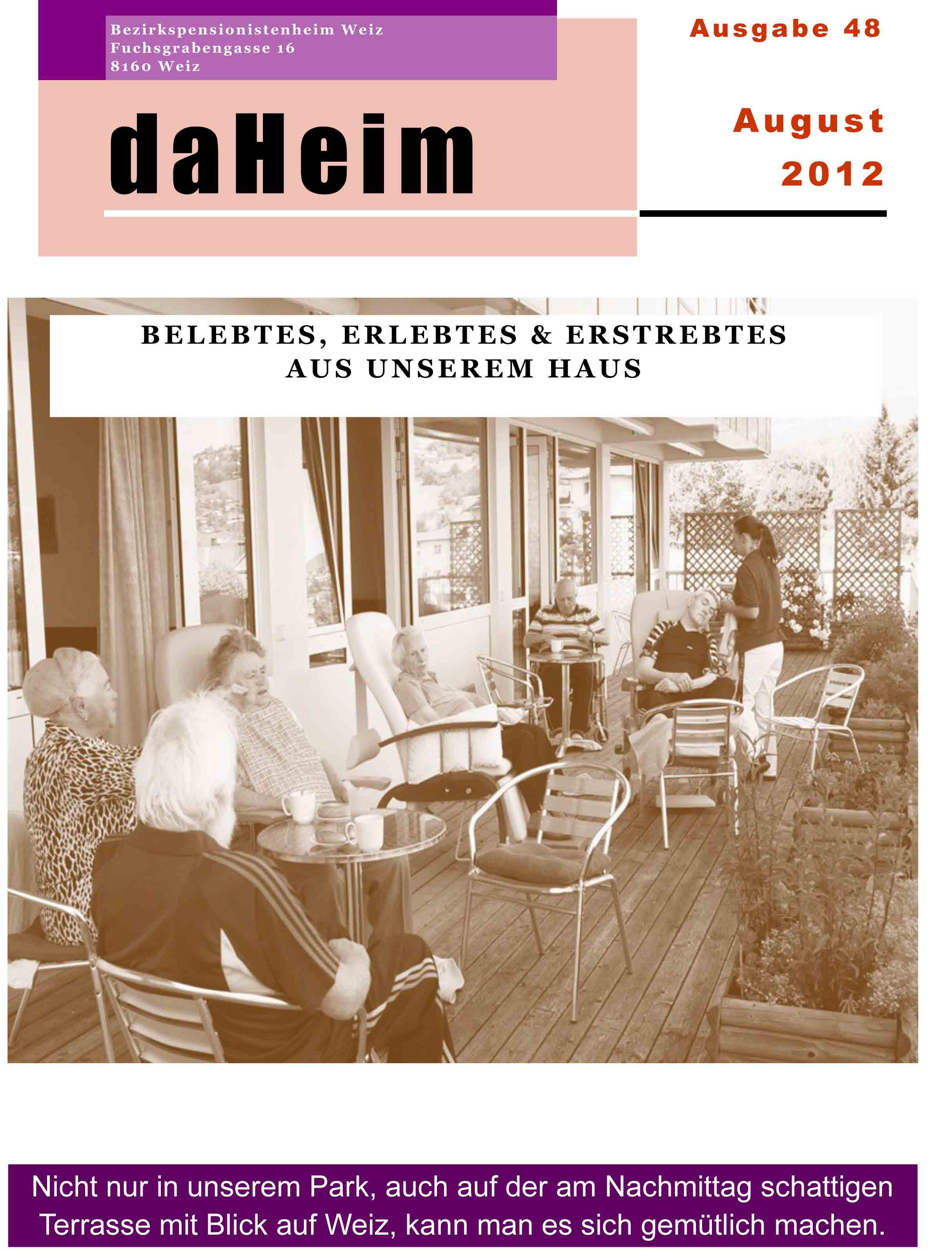 """Heimzeitung """"daHeim"""" 2012-08"""