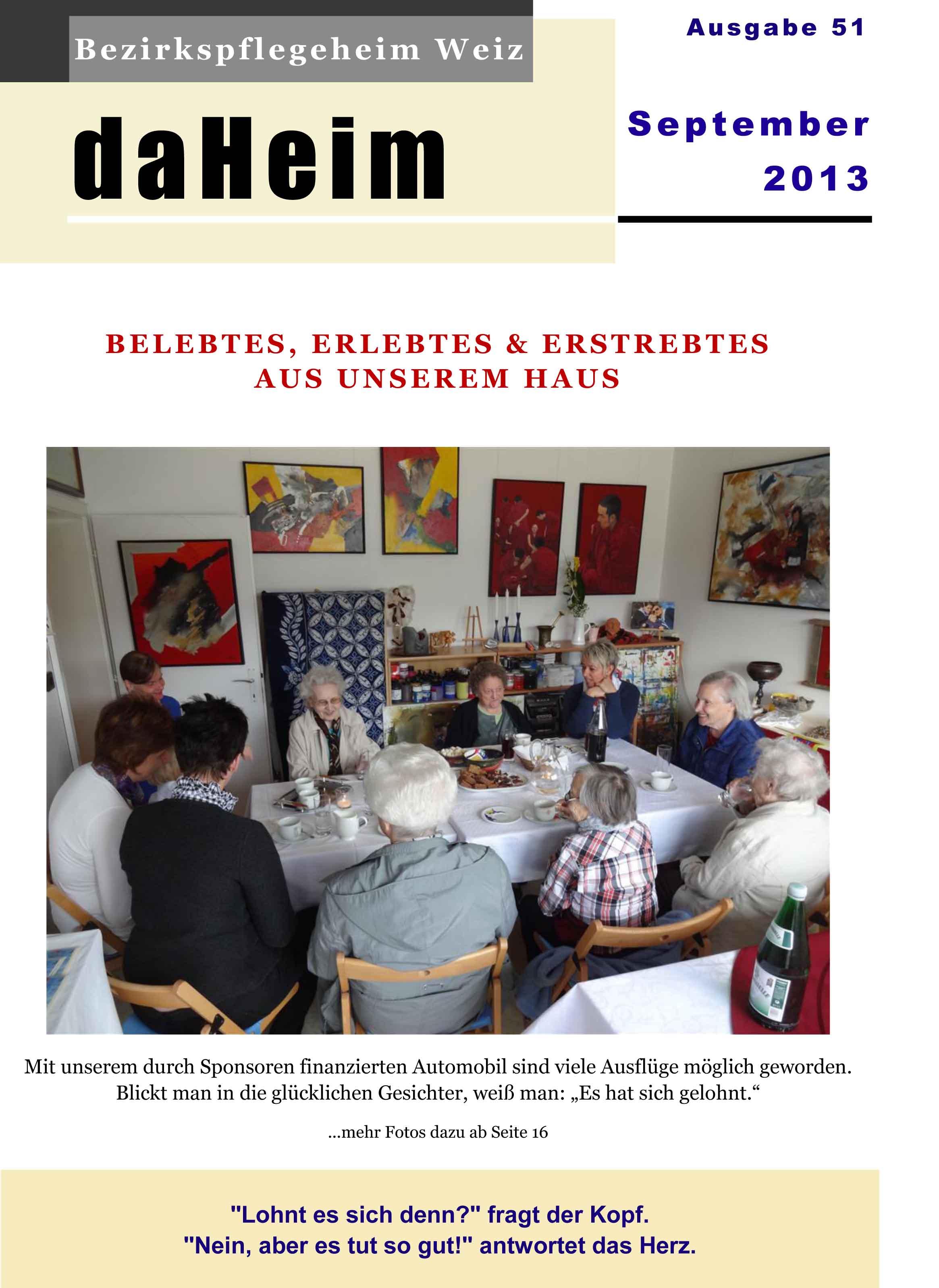 """Heimzeitung """"daHeim"""" 2013-09"""
