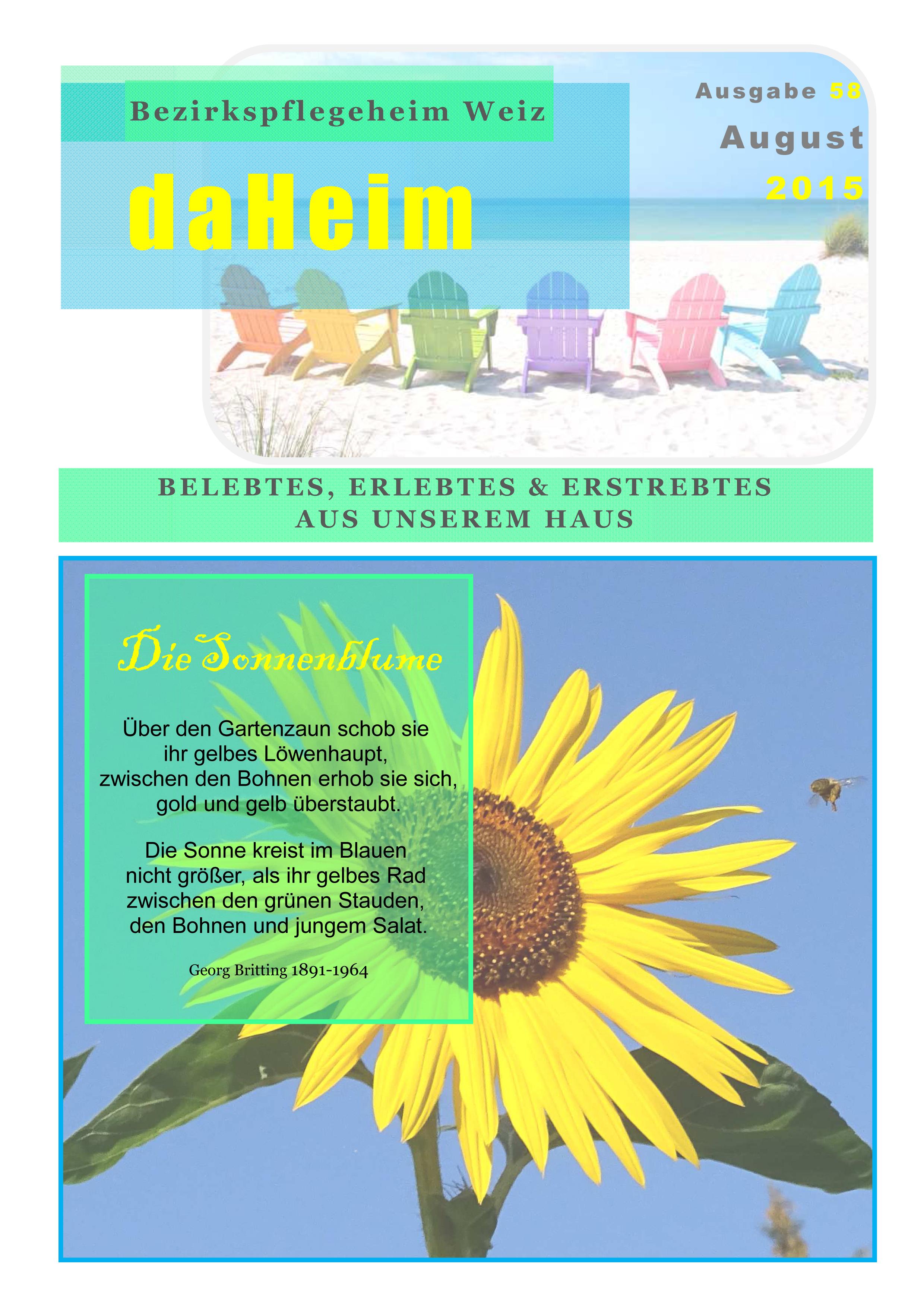 """Heimzeitung """"daHeim"""" 2015-08"""