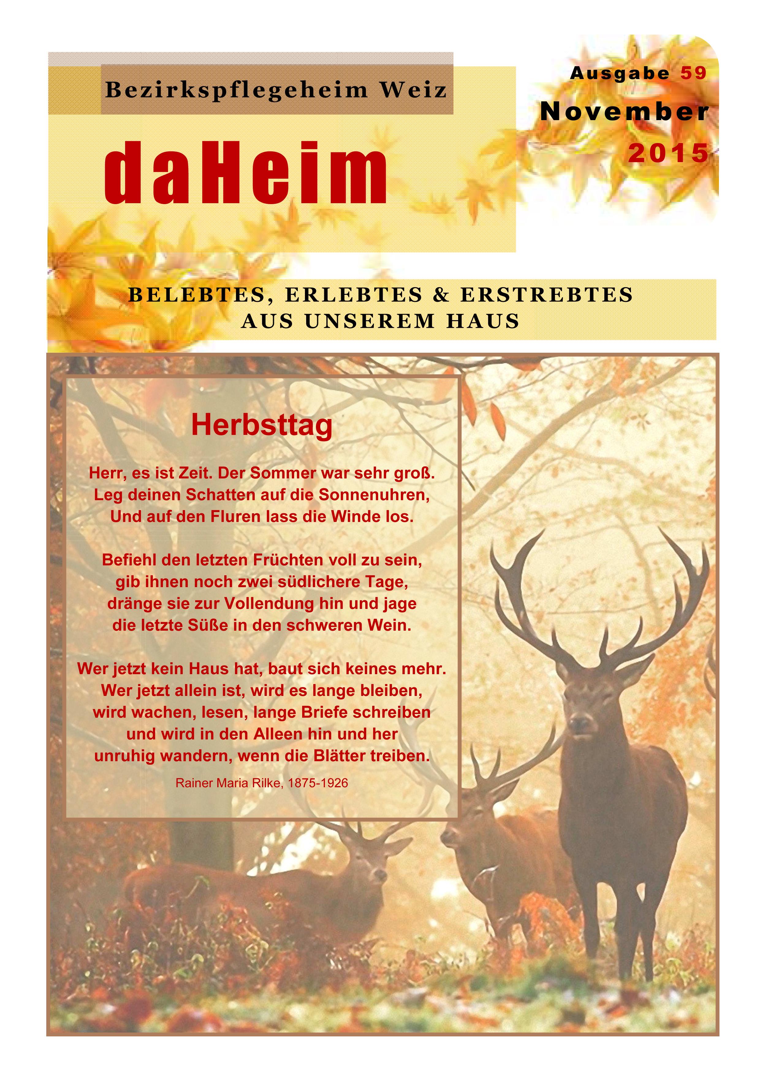 """Heimzeitung """"daHeim"""" 2015-11"""