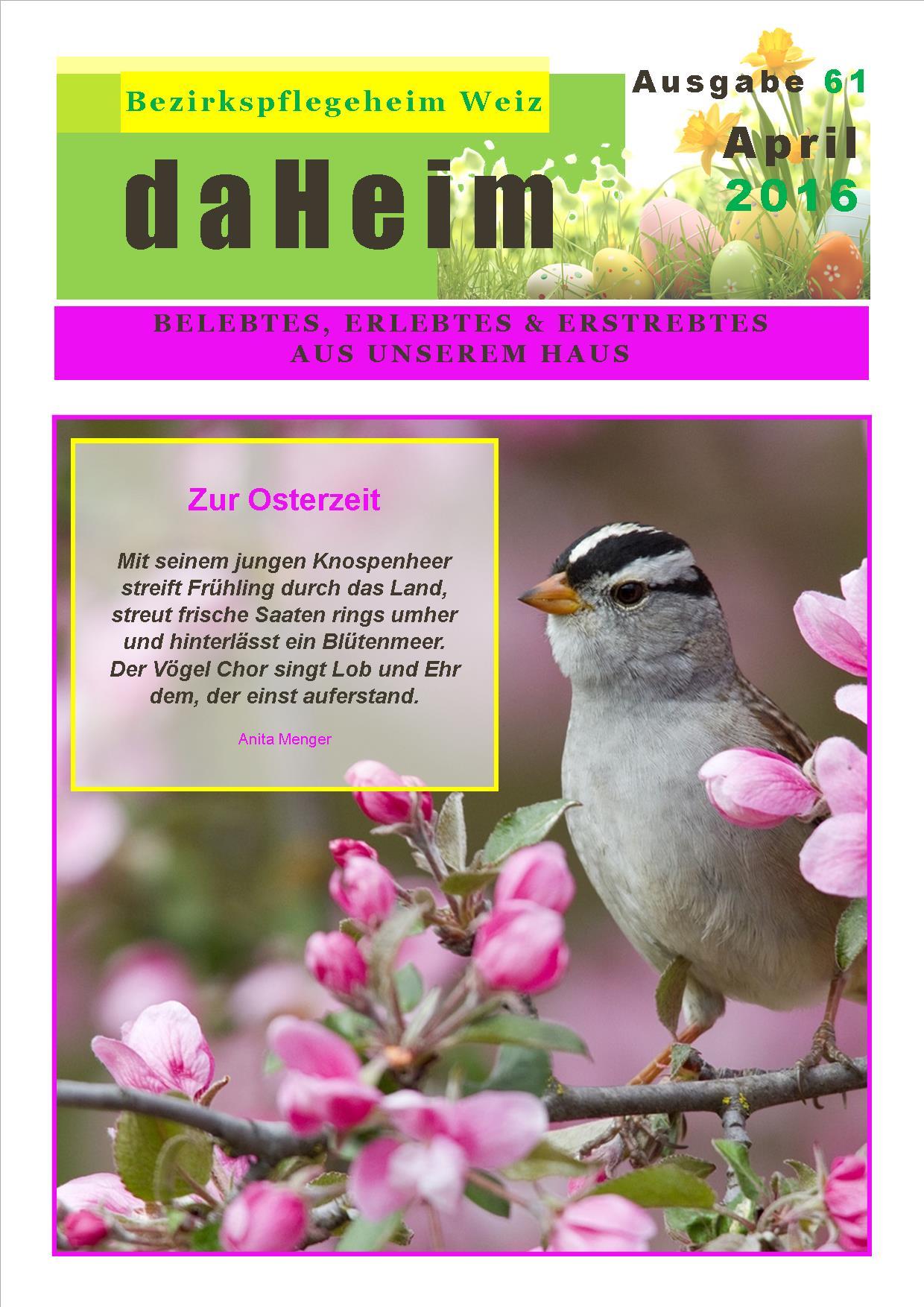 """Heimzeitung """"daHeim"""" 2016-04"""