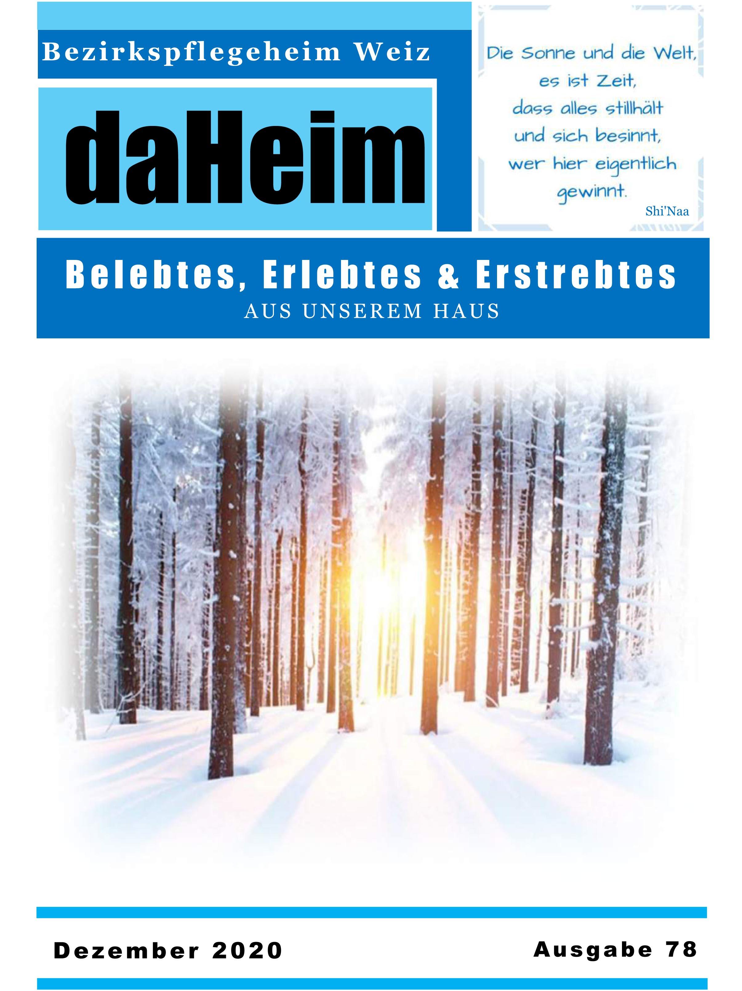 """Heimzeitung - """"daHeim"""" 2020-12"""