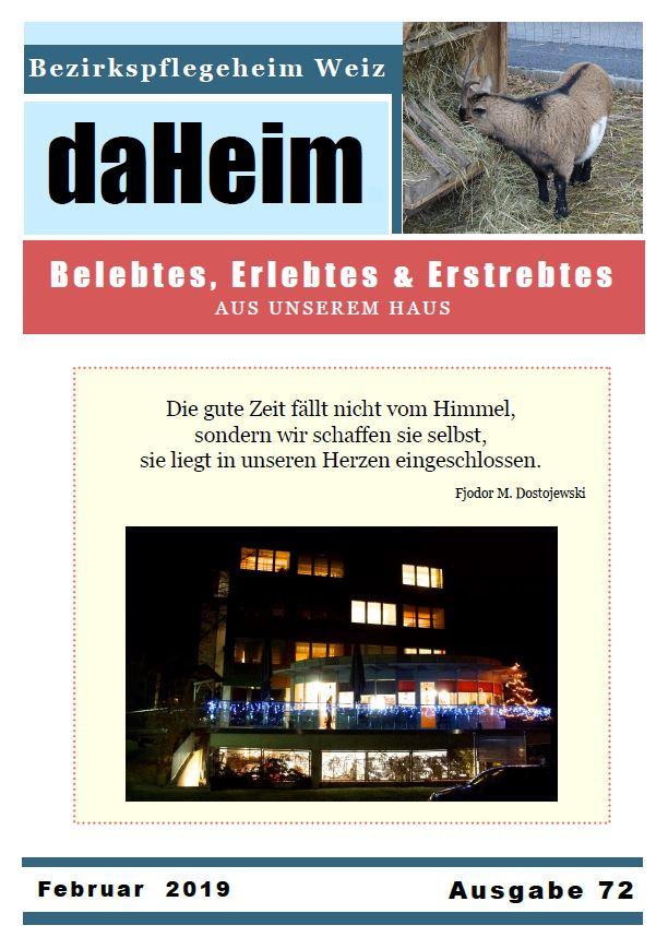 """Heimzeitung """"daHeim"""" 2019-01"""